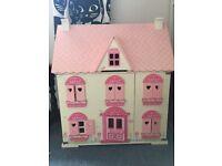 Wooden Dolls House & furniture