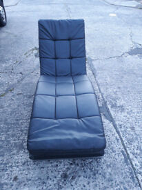 low black leather lounger