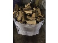 Ton bag filled with logs