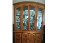 DINING TABLE AND 6 CHAIRS WITH DISPLAY CABINET IN WALNUT WOOD