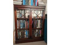 2 x glazed bookcases with matching fretwork