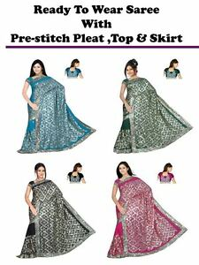Ready-to-wear-wedding-Embroidery-Sequin-Saree-sari-blouse-skirt-pre-stitch-pleat