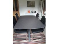 REDUCED! Habufa stone-finish glass extending table. 4 chairs. Almost new. 1/3rd showroom price.