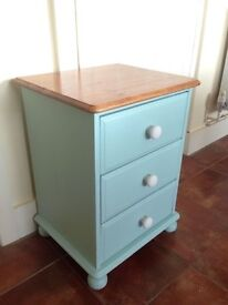 Solid Pine shabby chic painted 3 drawer chest bedside table