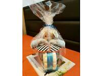 Nappy cake for boy gift motorbike blue