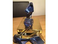 Bue studded 6 inch gold stiletto heel lady's shoes - Sandal for occasson. As new never worn outside