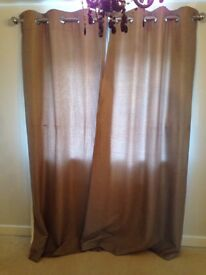 curtains (eyelet, lined, taupe, textured)