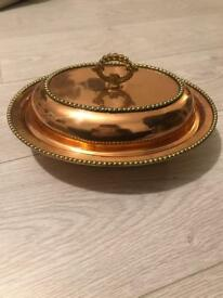 Real copper kitchen serving dish