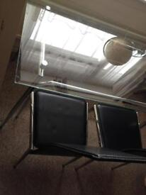Dinning table 4 seater glass