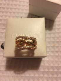 AMAZING PANDORA ROSE GOLD RING IN BOX