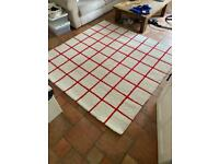 IKEA SIMESTED Red and White Grid Rug
