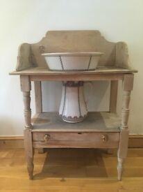 Wooden wash basin stand & ceramic ware