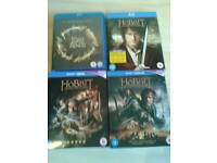 Lord of the Rings Triology Blu - rays Plus 3 Hobbit Vlu -rays