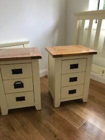 Double bed frame with chest of drawers and 2 bedside lockers