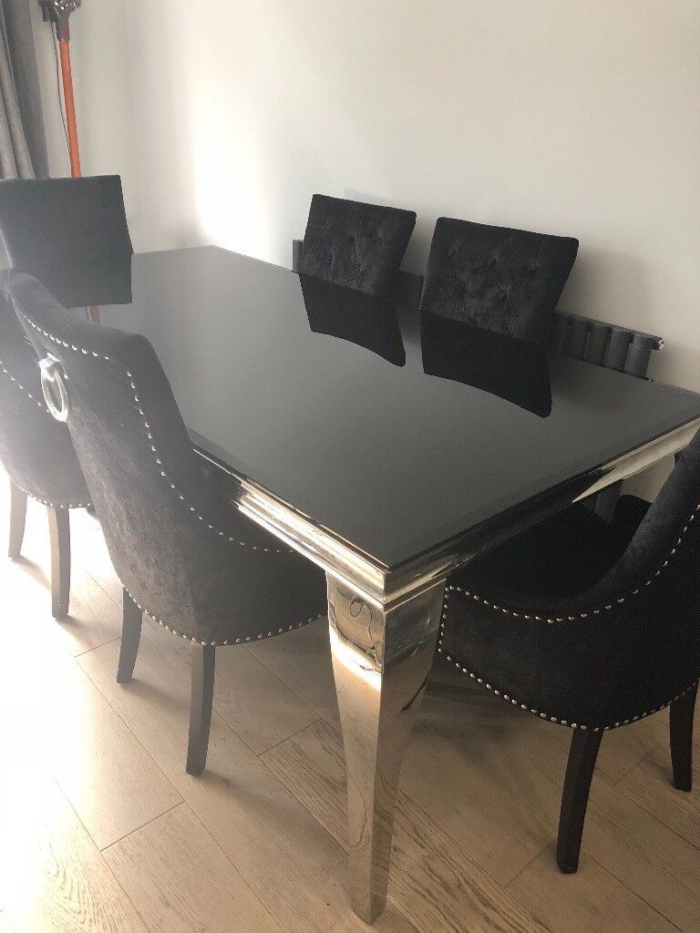 Housing units brand new Louis dining table black glass & 4 matching ...