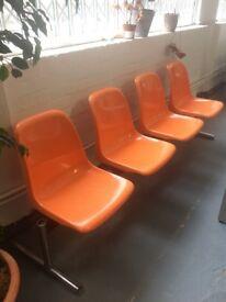 Orange chair bench set