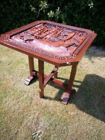 chinese japanese hand carved folding table