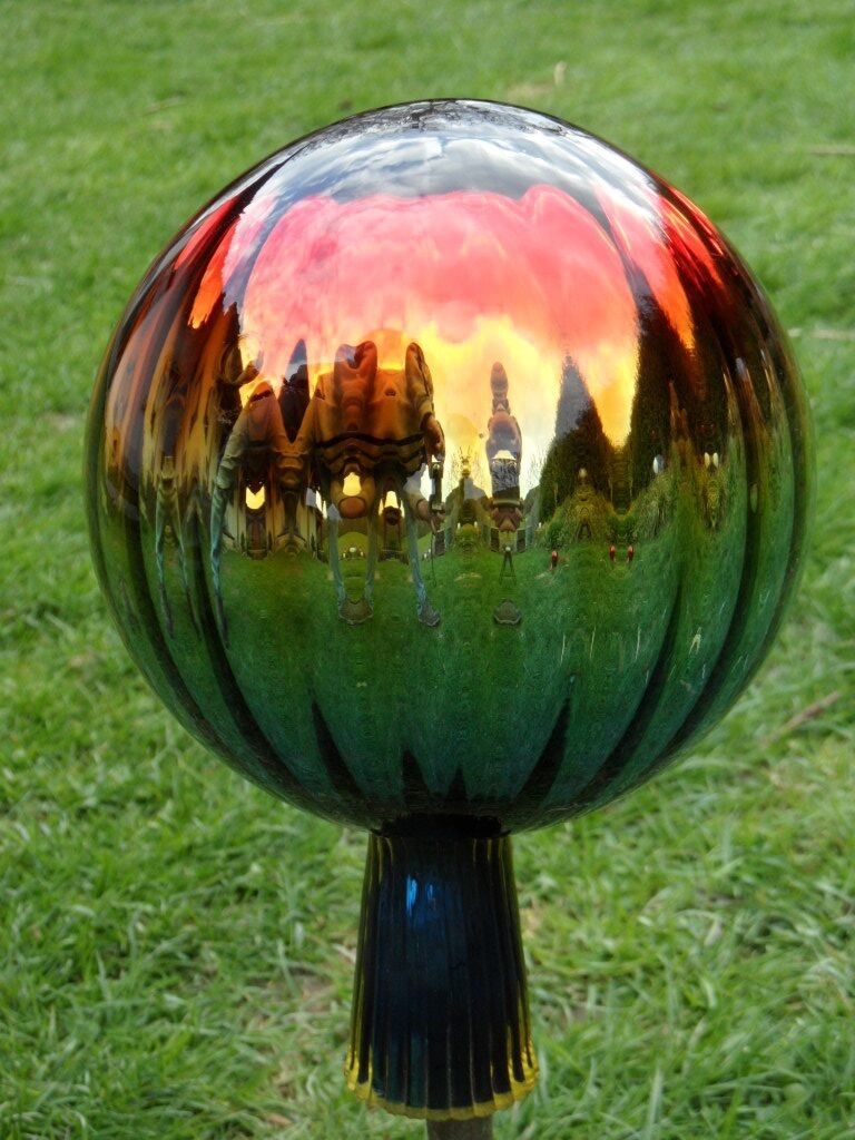 Glaskugel Rosenkugel xxxl Große Rosenkugeln Gold/Rot Gartenkugeln Garten Balkon