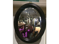 Endearing Antique Victorian Oval Mahogany Framed Decorative Bevel Mirror