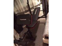 Maximuscle bench, dumbells, 200kg weights, bars and sit up bench