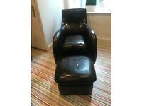 Faux leather chair with foot stool