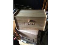 Hevea wood drop front bread bin new
