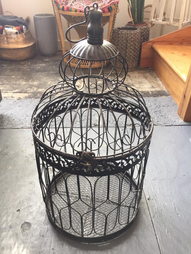 Round black birdcage