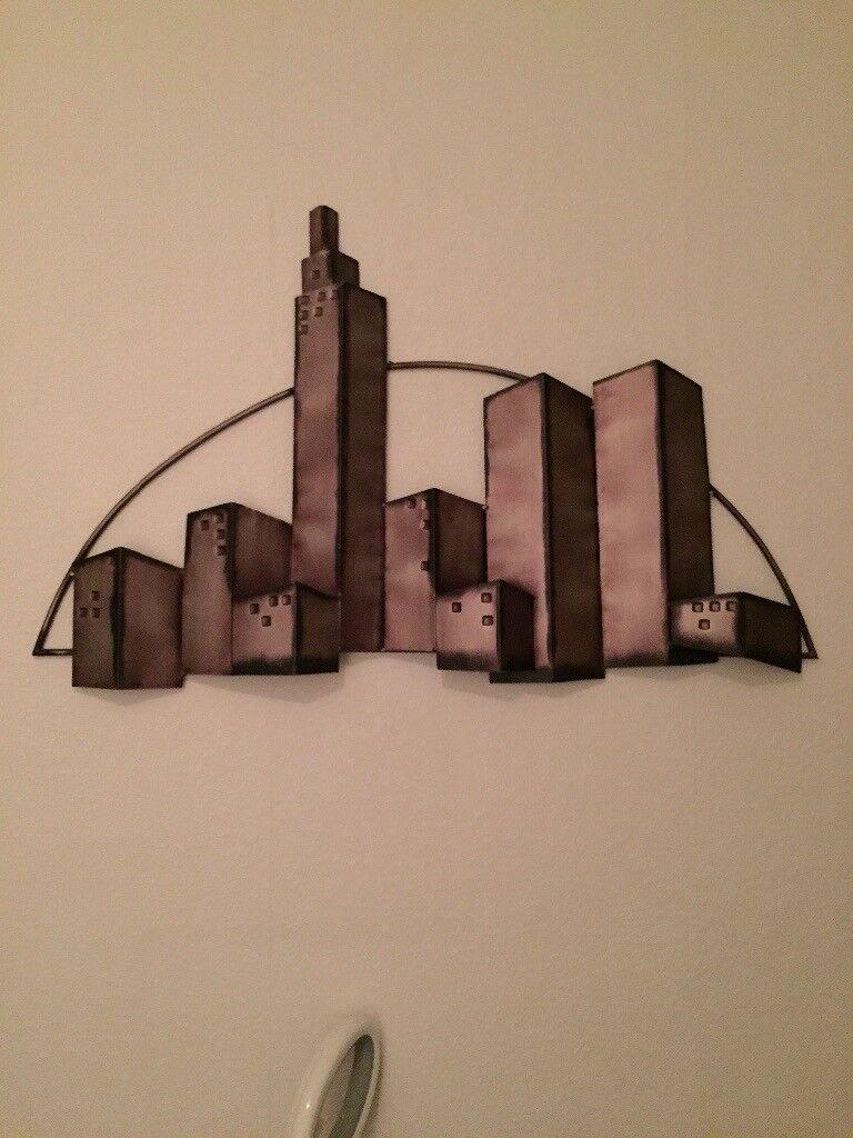 Metal wall art skyline 3D effect