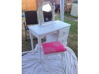 Solid pine shabby chic dressing table stool & mirror