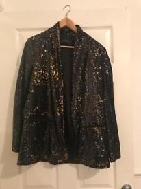 Zara sequin tuxedo jacket