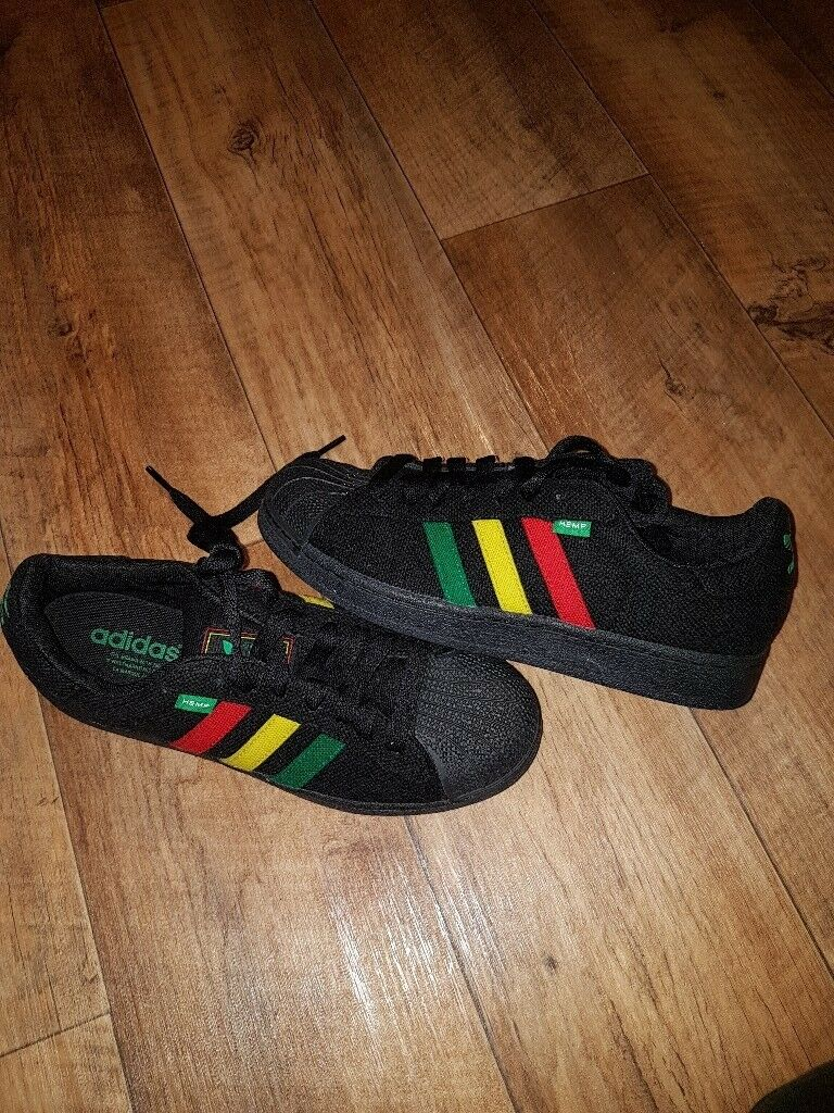 online store 51f9a 9e8ea Adidas Rasta black Jamaican hemp trainers New without box and tags size 7.5