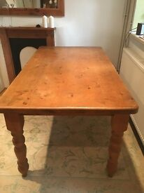 Solid old pine dining table and chairs