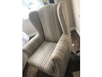 Set of 2 high back armchairs - good condition - neutral colours