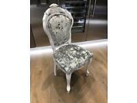 Silver Crushed Velvet Dressing Room Chair
