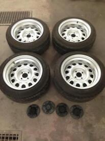 Bullet g60 steel wheels. Wide, not banded. 4x100. Bmw E30 golf