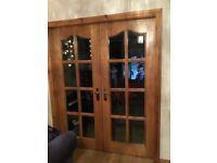 French Doors in oak / bevelled glass