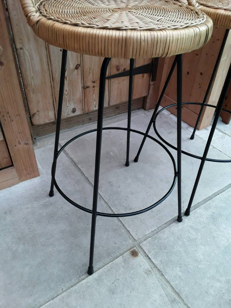 TWO X TALL HIGH BACK STOOLS STEEL LEGS WICKER SEAT SOLID STRONG ...