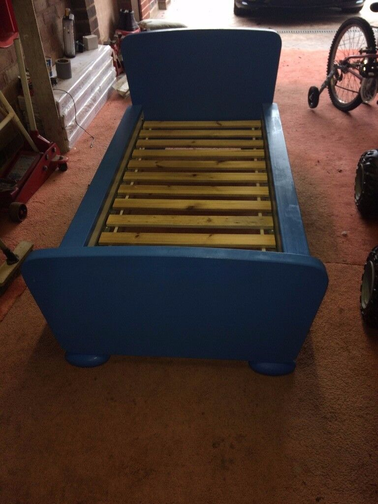 Blue IKEA Mammut Child's Bed with Sultan Lade Slatted Base