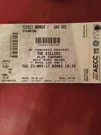 The Killers Ticket - Aberdeen (21/11/2017)