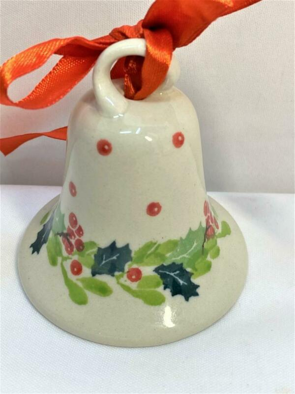 """Hand Painted Porcelain Christmas Bell Holly & Berries 2 3/4"""" Tall Tree Ornament"""