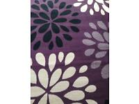 "Large rug 90"" x 63"" purple cream and black flowers"