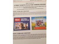 Alton towers Sunday 8th October, admit 2 persons