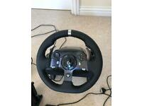 Logitech g920 steering wheel with pedals and gear stick