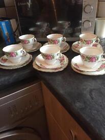 Set of 6 Colclough Pink Rose Patterned trios