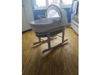 Grey whicker moses basket 4 fitted sheets and mattress like brand new
