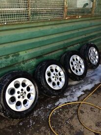 Alfa Romeo 147 alloy wheels and tyres 3 road legal tyres 205 60 15 5 stud