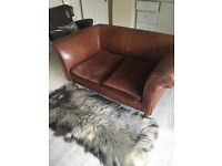 Vintage style antique brown leather sofa