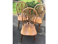 3 solid Woden chairs shabby chic project