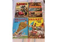 10 vintage annuals: 3 Valiant, 2 Hotspur, Action, Victor, Jet, Tiger, Lion