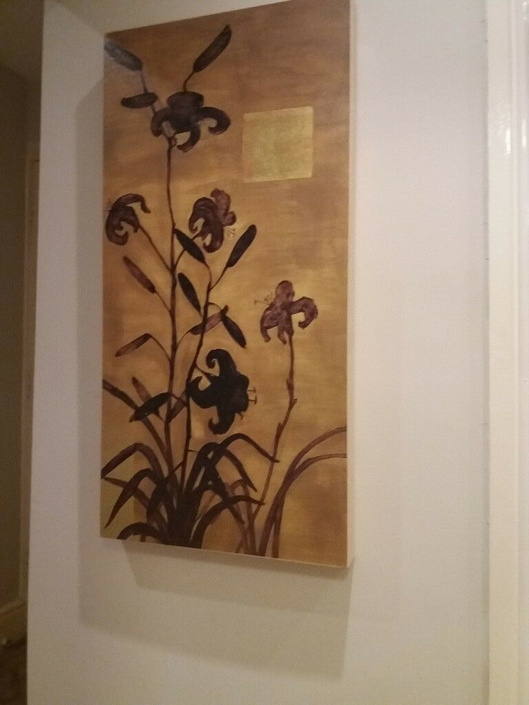 Picture gold and Browns and red on canvas